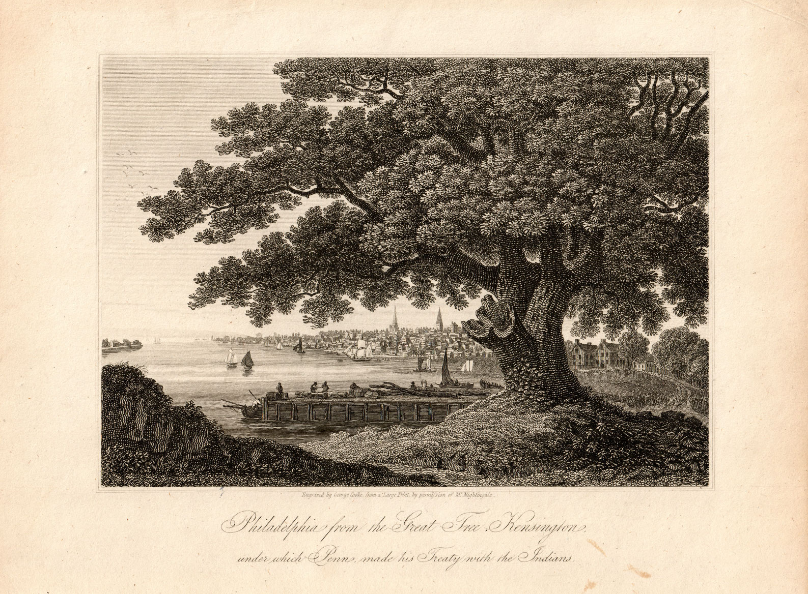 "fig. 1_ 1801 View of Philadelphia along the Delaware River from the Kensington Oak under which Penn signed his famous treaty with the Native Americans in the early 1680s. On the right side can be seen an example of the kind of country estate Penn had initially envisioned to be the basis for his ideal ""greene country towne."""