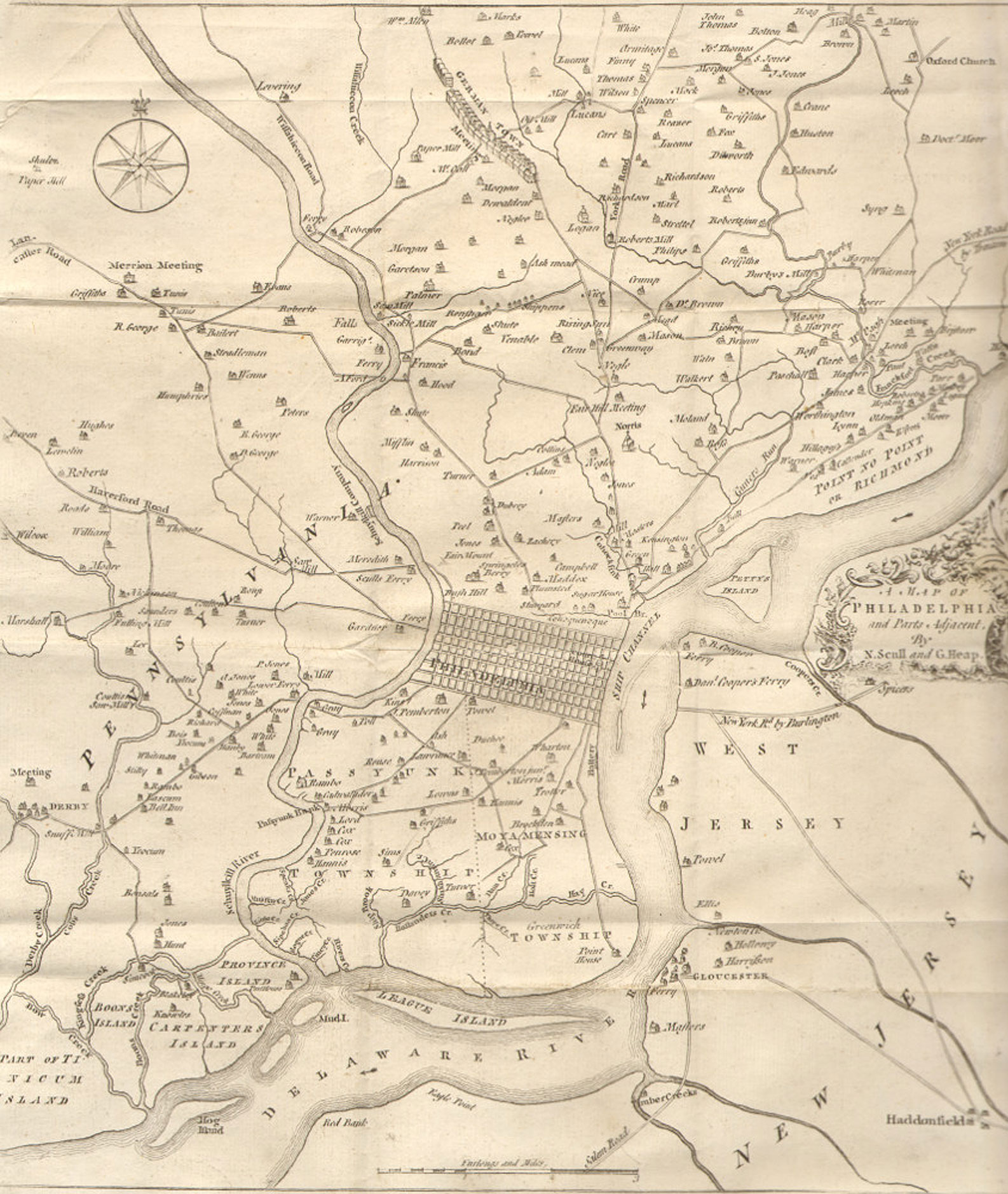 fig. 2_ Mid-18th century map of Philadelphia showing the grid as it was sited between the Delaware and Schuykill rivers.